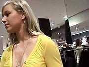 Cute German girl gives a dressing room blowjob and swallows