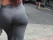 Candid - Amazing PAWG in grey leggings!